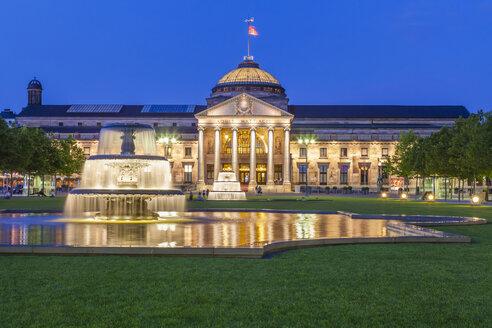 Germany, Hesse, Wiesbaden, Kurhaus at night - WDF002137