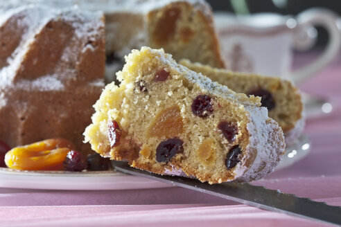Slice of selfmade ringcake with cranberries and  apricots on baking with powdered sugar on well-laid table - CSF020525