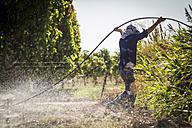Australia, Carnarvon, Farmer installing irrigation system - MBE000965
