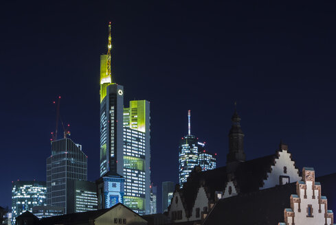 Germany, Hesse, Frankfurt, Commerzbank Tower at night - MPAF000004