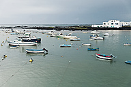 Spain, Lanzarote, Orzola, anchored fishing boats - MFF000695