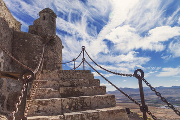 Spain, Lanzarote, Teguise, stairs of Castillo Santa Barbara - MFF000699