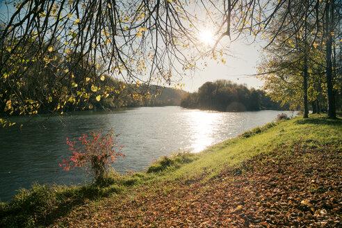 Germany, Bavaria, Landshut, autumn atmosphere at Isar river - SARF000164