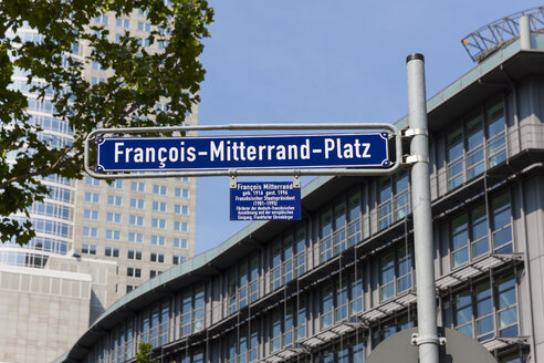 Germany, Hesse, Frankfurt, Financial District, Street sign of Francois Mitterand Square - AMF001483