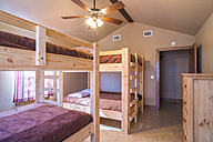 USA, Texas, bedroom interior with double bunk beds - ABAF001123