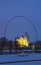 Germany, Bavaria, Ingolstadt, New Castle, evening twilight - MABF000191