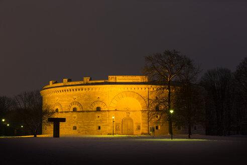 Germany, Bavaria, Ingolstadt, Klenzepark, Triva Tower by night - MAB000193