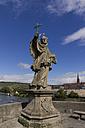 Germany, Bavaria, Würzburg, Old Main Bridge, statue of Saint Nepomuk - SJF000080