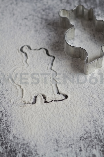 Silhouette of a Christmas cookies cutter in powdered sugar - SBDF000366