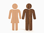 Male and female figurine made of wood, illustration - UWF000005