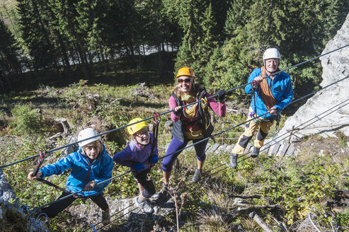 Austria, Salzburg State, Altenmarkt-Zauchensee, family at via ferrata - HHF004706