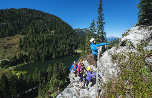 Austria, Salzburg State, Altenmarkt-Zauchensee, family at via ferrata - HHF004708