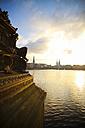 Germany, Hamburg, city centre and Inner Alster at sunset - KRP000066