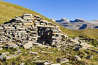 Spain, Aragon, Central Pyrenees, Canon de Anisclo, Ordesa y Monte Perdida National Park, old mountain hut - LAF000370