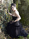 Young woman wearing Steampunk clothing, Victorian style - BSCF000401