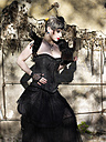 Young woman wearing Steampunk clothing, Victorian style - BSCF000402