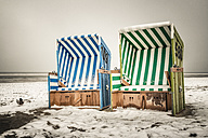 Germany, Lower Saxony, beach chairs at the beach of Langeoog - EVGF000293