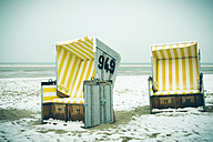 Germany, Lower Saxony, beach chairs at the beach of Langeoog - EVGF000292