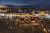 Morocco, Marrakech, view to Djemaa el-Fna square at dusk - HSIF000312