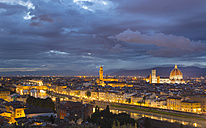 Italy, Tuscany, Florence, view to city with Ponte Vecchio, and Duomo di Firenze at dusk - HSIF000328