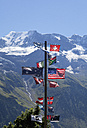 Switzerland, Grimmelwald, Inernational flag pole at Jungfrau-Aletsch-Bietschhorn nature heritage site - WWF002954