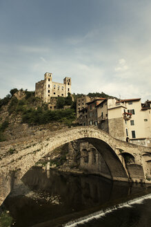Italy, Liguria, Dolceaqua, Castle Castello dei doria and bridge - KAF000084