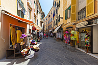 Italy, Liguria, Province of Genoa, Sestri Levante, old town, alley and shops - AM001590