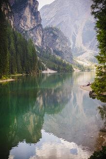 Italy, Trentino-Alto Adige, Alto Adige, Puster Valley, water reflection at Lake Prags - MJF000454