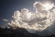 Italy, Province of Belluno, Veneto, Auronzo di Cadore, cloudscapes over Tre Cime di Lavaredo - MJF000481