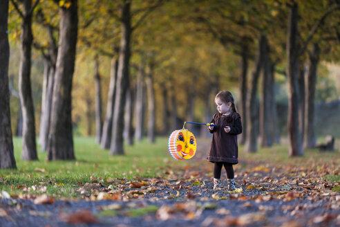 Germany, Rhineland-Palatinate, Neuwied, girl with lantern in a park - PA000162