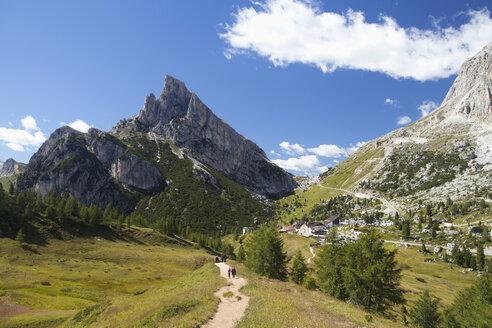 Italy, Veneto, Hikers at Falzarego Pass, Sass de Stria and Tofane - WWF003032