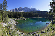 Italy, South Tyrol, Welschnofen, Karersee and Latemar group - WWF003057