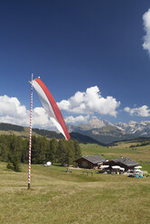 Italy, South Tyrol, Alpine cabin and flag at Seiseralm - WW003072