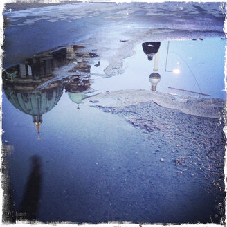 Puddleography, reflection of Cathedral and TV Tower, Germany, Berlin - ZMF000021