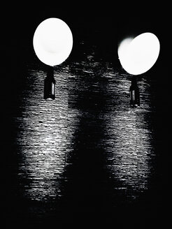 Two lamps on a black wall of schiSt. Germany, Hamburg - SEF000134