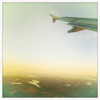 Airplane wing, flight over Canada, Nova Scotia - SEF000175
