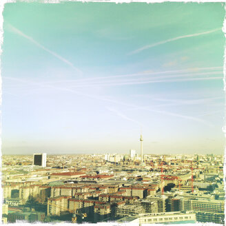 Aerial view to downtown Berlin with Fernsehturm at Alexanderplatz, Germany, Berlin. - ZMF000054
