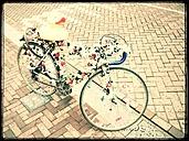 Street, bike, racing, deco, ducks, Quietscheenten, Amsterdam, The Netherlands - FMK001137