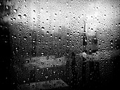 Raindrops on a window, warship in the (unfocussed) backdrop, Hamburg, Germany - FBF000137