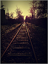 Railway tracks in sunset, Germany, North Rhine-Westphalia, Minden - HOHF000312
