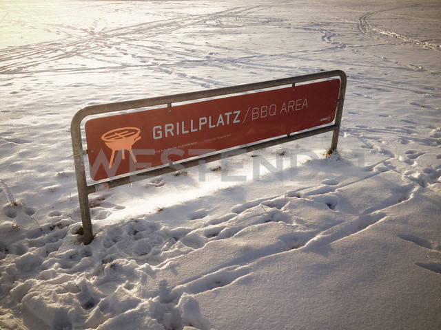 barbeque place sign in snow, Berlin, Germany - FB000117