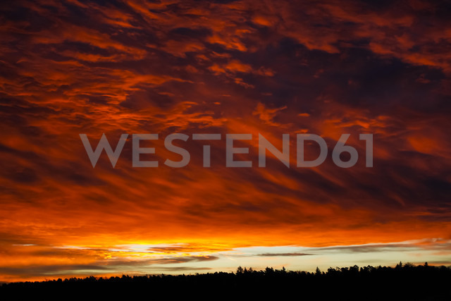 Germany, Baden-Wuerttemberg, Stuttgart, evening sky in winter - JTF000509