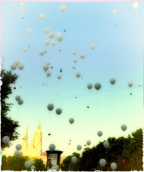 White balloons, Munich, close to Theresienwiese, Germany - SRSF000418