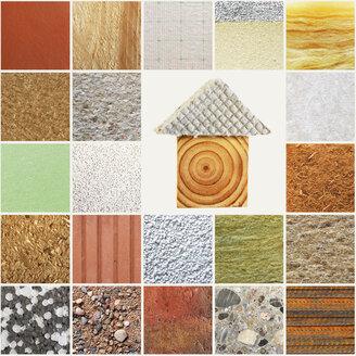 Illustrations, green building, different organic building materials - BIF000294