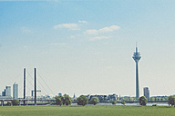 Germany, North Rhine-Westphalia, Duesseldorf, skyline with Rhine Knee Bridge and TV tower - MFF000716