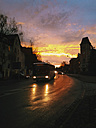 road traffic, bus, sunset, winter time, Saxony, Germany - MJ000517