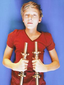 boy excercising with dumb-bells - SEF000389