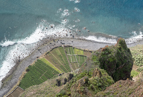 Portugal, Madeira, Cabo Girao, view down to terrace fields and beach - HLF000354
