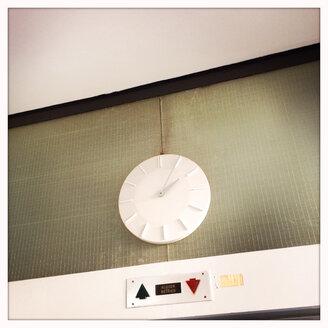 Clock on the elevators at the Albert-Ludwigs-University Freiburg, Baden-Wurttemberg, Germany, - DHL000261