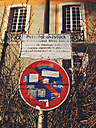 Sign for private grounds and no parking with stickers, Bonn, NRW, Germany - MEA000010